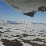 Anflug über Berge von Island