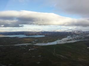 Flug in den Süden von Island